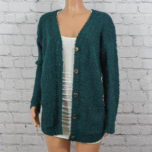 RD Style teal green knit cardigan sweater
